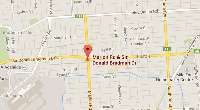 Image of Google map showing Crn Marion Road and Sir Donald Bradman Drive on the Adelaide to airport arterial road