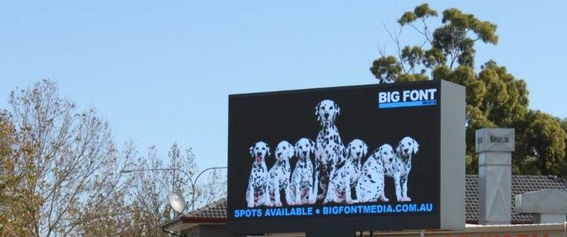 Image of Big Font Media digital outdoor billboard on Sir Donald Bradman Drive, Adelaide to airport arterial gateway, Spots Available